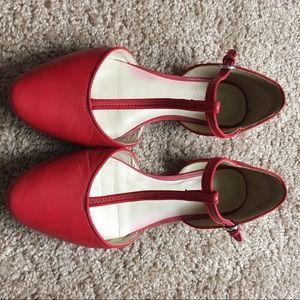 a528f52b5438 Nine West Shoes - Nine West Red TStrap Retro Zenda Flats